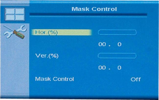 4.2.4.1 Mask Control The mask control menu adjusts the mask settings. The mask settings compensate for the gaps between monitors in the video wall array.
