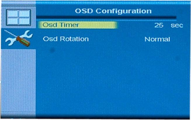 4.2.5.2.1 OSD Configuration The OSD configuration menu (Figure 4-19) adjusts the rotation of the OSD, and how long it displays for.