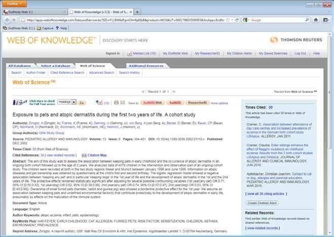 The displays details for the reference information from Web of Knowledge.