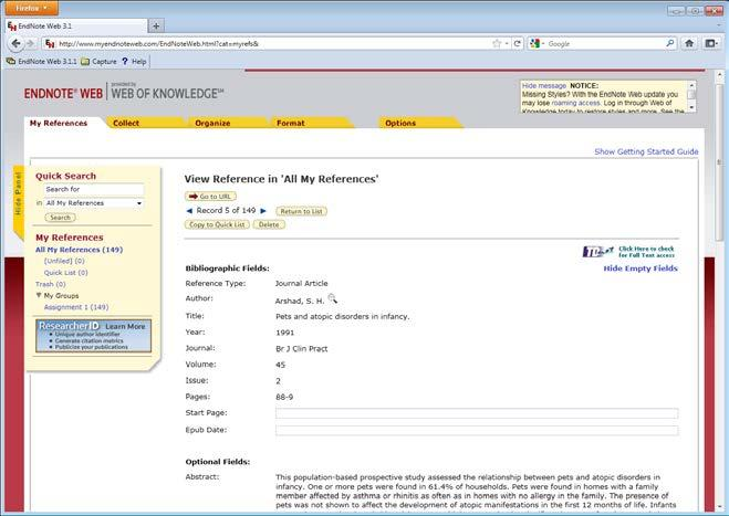 Various items on a page listing reference provide hyperlinks to further information.