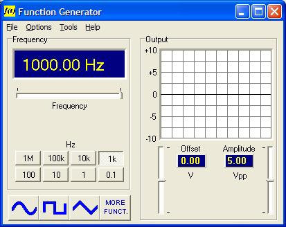 If oscilloscope is installed, the Function Generator button will bring up the Function Generator program module.