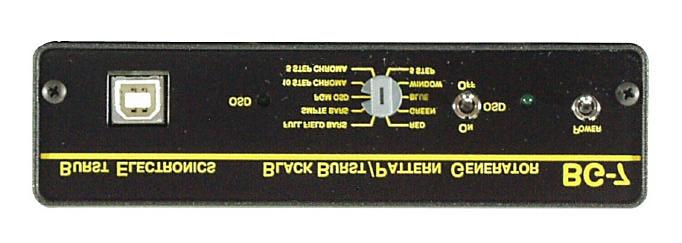 The BG-7 has a single selectable test pattern output, as well as, six (6) synchronous black burst outputs.
