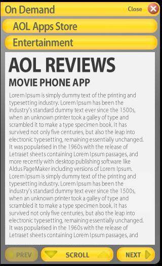 Screen 2 Passenger selected the AOL Apps Store which opens a screen with a