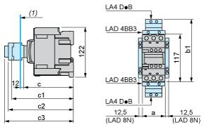 Product data sheet Dimensions Drawings LC1D50AF7 Dimensions (1) Minimum electrical clearance LC1 D40A D65A a 55 b1 with LA4 D 2 with LA4 DB3 or LAD 4BB3 with LA4 DF, DT with LA4 DM, DW, DL 136 157