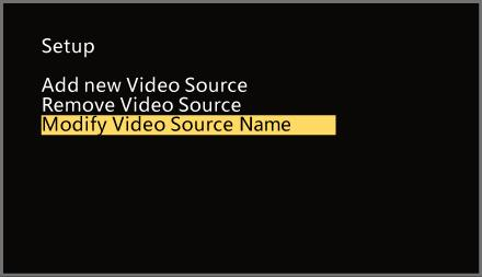Renaming Sources To rename a source, follow the instructions below: 1. Using the IR Remote hit the Menu button to bring up the OSD menu. 2.