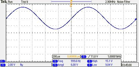 1 period The period (T) can be read from the cursor box: 1.01ms AC with DC OFFSET The waveform below is an example of a 1000 Hz.