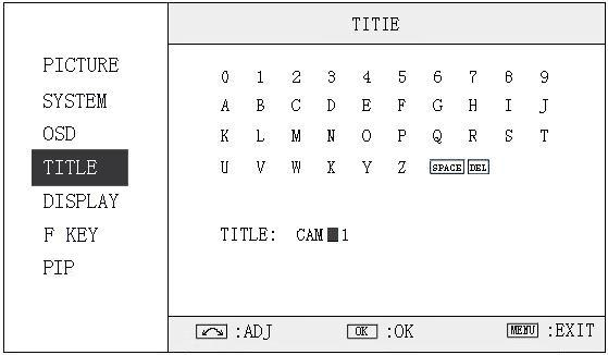 "3.4 TITLE submenu Revolve ""OK"" button to select the letters, and press ""OK"" to input. Select SPACE to input space and DEL to delete the left letter. Max 10 letters are supported."
