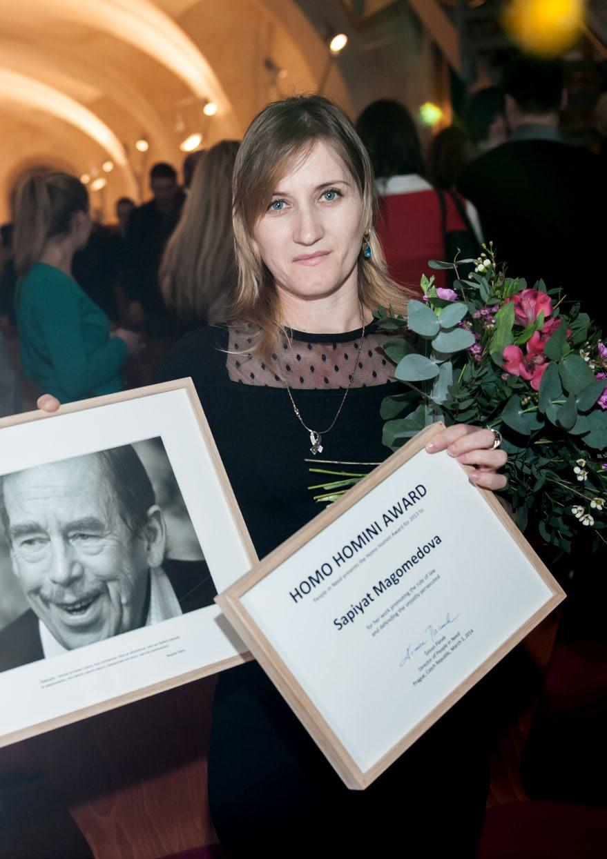 33 Homo Homini Award In the Prague Crossroads the festival is traditionally launched with the presentation of the Homo Homini human rights award, which People in Need grants to individuals who have