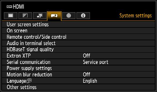Menu Description System settings Customize projector and remote control operation, beeping, and other details after startup, during standby, and in other situations.