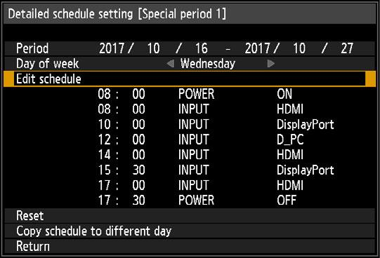 Menu Description Option Special period Select a day in [Day of week], and select the times, operations, and parameters.