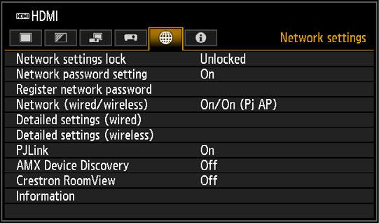Menu Description Network settings Settings described in this section apply to wired and wireless network connections, setting a network password, and other aspects of networked projection.