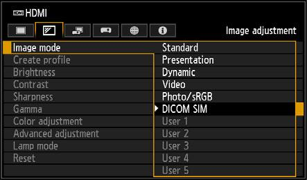 Projection Procedure Projecting an Image in the DICOM SIM Mode In the DICOM simulation mode (hereinafter referred to as DICOM SIM ), this projector can project a monochrome medical image such as an X