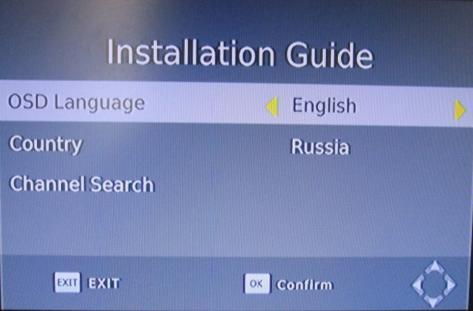 3 Installation Wizard If you are using the receiver at the first time or have restored the receiver to Factory Default, the Installation Guide Menu will appear on your TV screen.