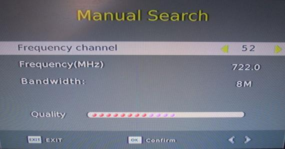 (b) Manual Search This option allows you to scan for new channels without deleting previously saved channels and settings. 1. Select [Manual Search] then press OK or RIGHT.