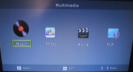 (a) Multimedia When a USB device is attached you can select from the Music, Photo or Movie options in this menu using the RIGHT/LEFT keys and OK to select.
