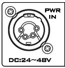 PWR IN DC in socket connect the supplied 24V~48V PSU to