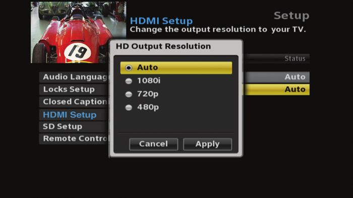 HDMI Setup è Select TV Aspect Ratio and press the OK button. Select Auto (recommended), 4:3, or 16:9 and press the OK button to select Setting, then choose Apply to save it.