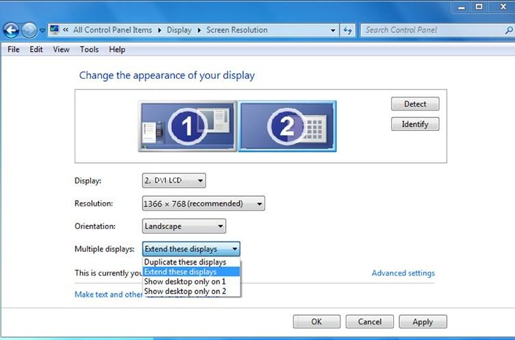 5) Normally is the laptop s monitor, is the external monitor. Click on Detect if you are unsure.