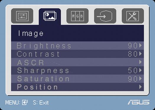 2. Image You can adjust brightness, contrast, sharpness, saturation, position (VGA only), and focus (VGA only) from this menu. Brightness: the adjusting range is from 0 to 100.