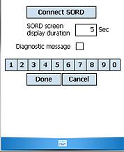 SORD Setup Screen Select Connect SORD to open communications to the Laser Range Finder connected to the serial port of the device. Select Disconnect SORD to close communications to the serial port.