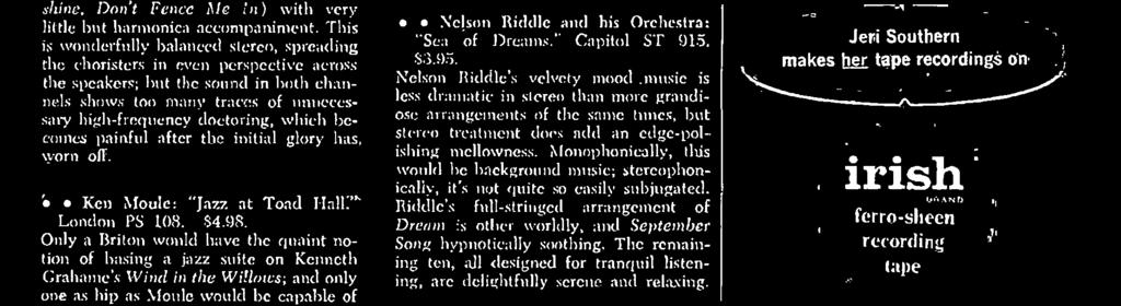 The long- familiar Fiedler- Boston Pops Orchestra best- seller with all the sizzling brilliance and vehement clynaniic impact, if hardly the warmth, of the stereo taping.