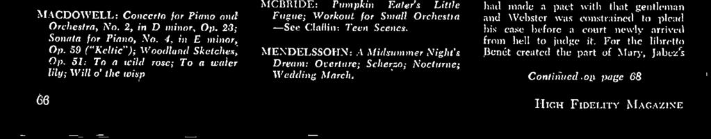 MCBRIDE: Pumpkin Eater's Little Fugue; Workout for Small Orchestra -See Claflin: Teen Scenes. MENDELSSOHN: A Midsummer Night's Dream: Overture; Scherzo; Nocturne; Wedding March.
