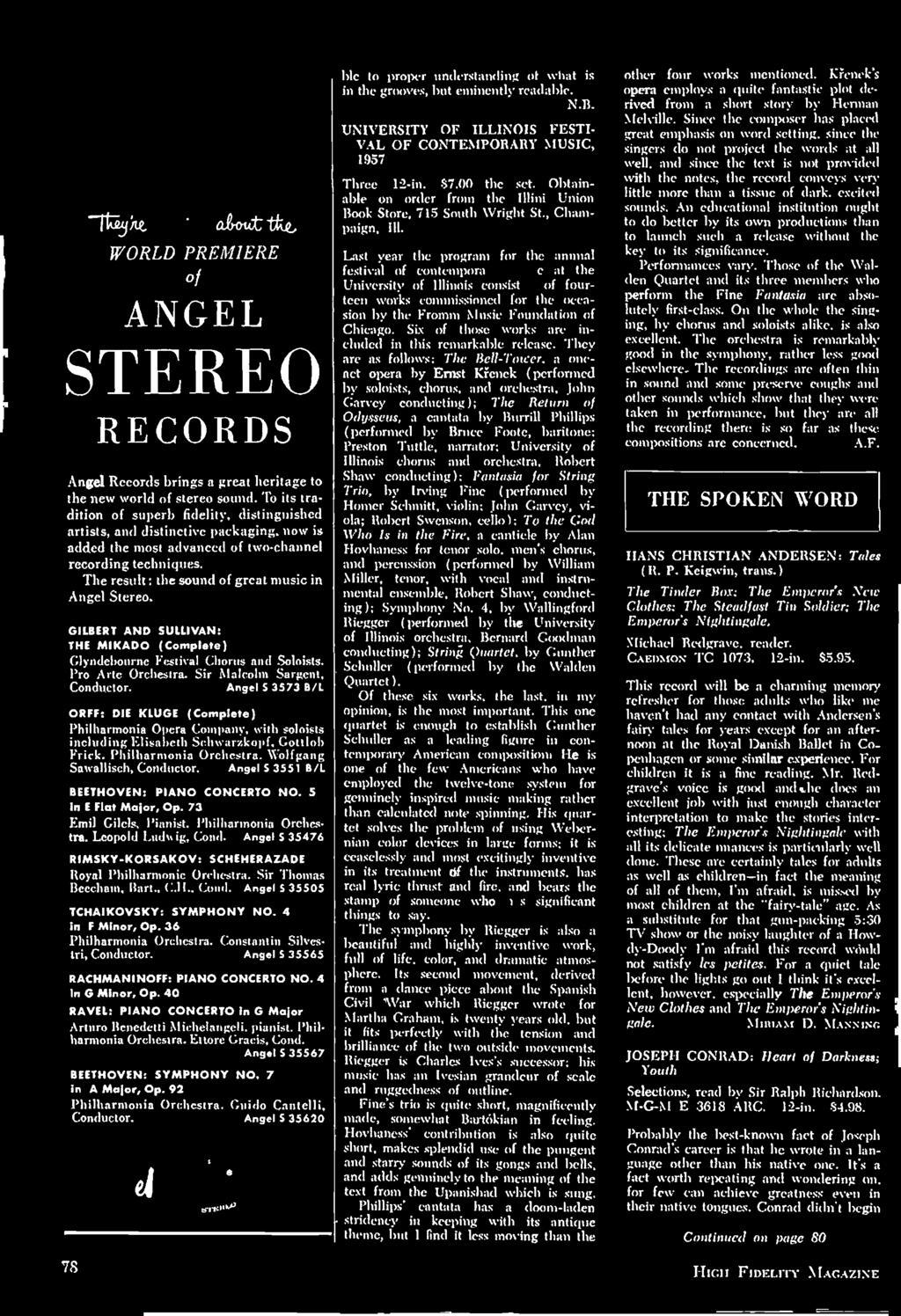 The result: the sound of great music in Angel Stereo. GILBERT AND SULLIVAN: THE MIKADO (Complete) (ayncicbournc Festival Chorus and Soloists. Pro Arte Orchestra. Sir Malcolm Sargent, Conductor.