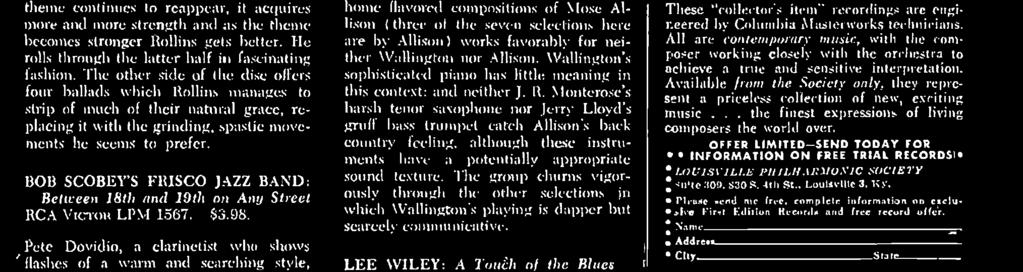 The group includes alto saxophonist Phil Woods, playing with soaring gusto, and trumpeter Donald Byrd who staggers emptily through much of his solo space. Wallington contributes several warm.