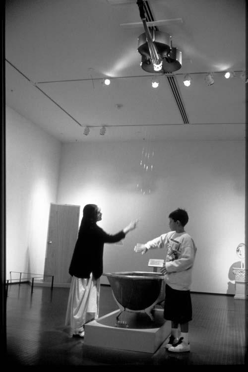 Figure 3. Gray Matter (1995), consisting of interactive electrified objects that produce sound and sensation when stroked with the hand. (Photo courtesy Paul DeMarinis 2007.