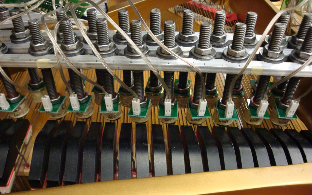 One electromagnet Amplitude is used for each note of the piano, up to 88 notes total (48 in the current prototype).