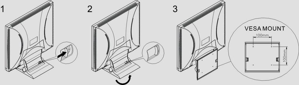 How to install the VESA mount: Please see the below drawing. First, find the slide on the stand.