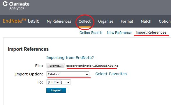 Capture citations from UBC Library website *Note: when you go to import the reference into EndNote,