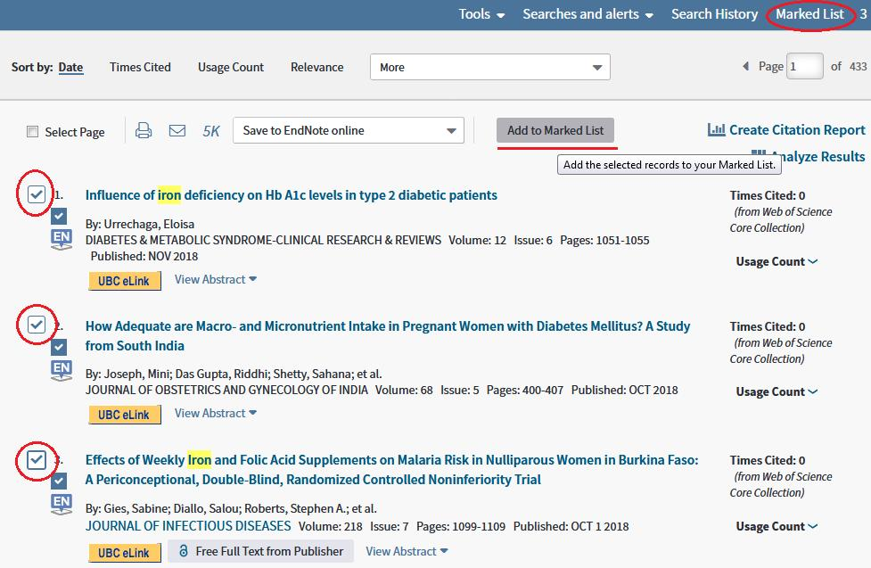 Capture citations from Web of Science Direct Export: References can be exported from