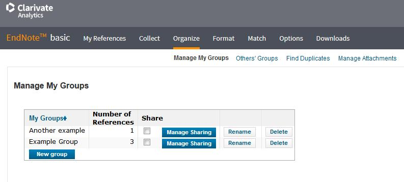 Importing and organization citations into groups To manage your groups: Select Organize Manage My