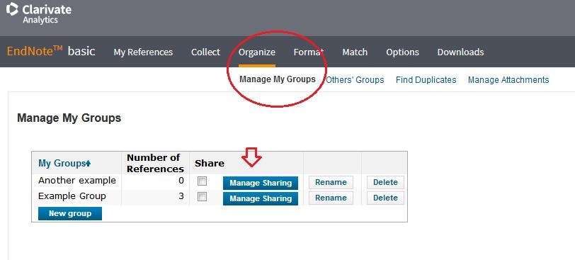 Share collection with email address To share references with other EndNote