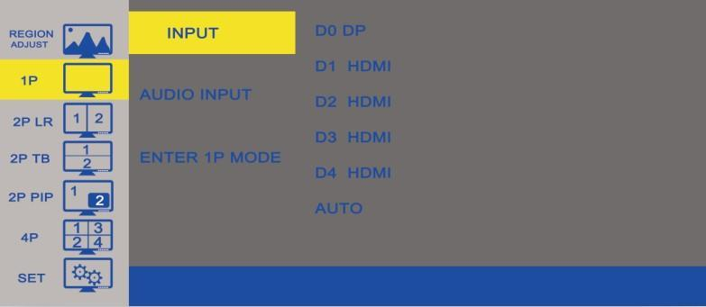 B. 1P Option Function Value INPUT Choose the input source D0 DP, D1 HDMI, D2 HDMI, D3 HDMI, D4 HDMI AUDIO INPUT According to the input source you choose.