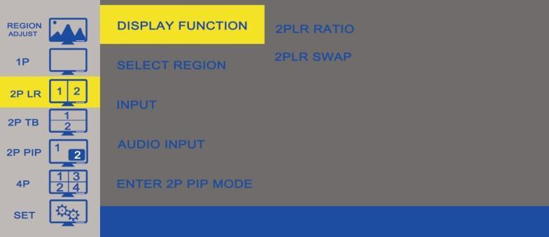 2P LR Option Function Value DISPLAY FUNCTION Select the Ratio & Swap of the picture See table above SELECT REGION Select which region to edit See table above INPUT Select the first display channel