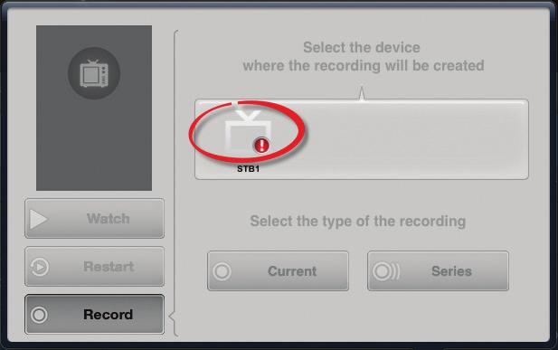 15 Remote Scheduling App Note: If your STB is shown with the following warning icon in the devices