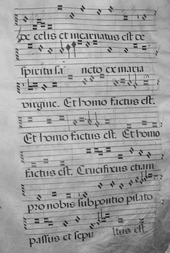 SPANISH LITURGICAL MUSIC MANUSCRIPTS AT SYDNEY 215 ILLUSTRATION 8 Fisher RB Add, Ms. 327. Polyphony for Et homo factus est in red notation. Folio D-2 [27].