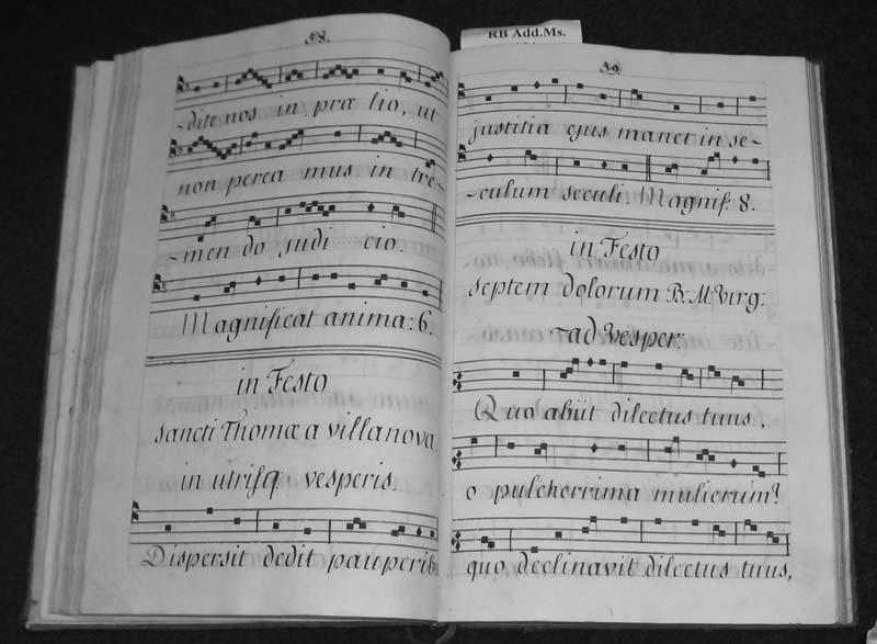 212 FONTES ARTIS MUSICAE 55/1 ILLUSTRATION 5 Fisher RB Add, Ms. 354. Monastic antiphonal 1781. 248 mm x 372 mm. 140 pages. Pages 58 and 59. This is one of a set of three (Mss. 354 356).