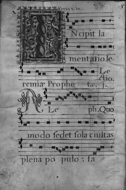 SPANISH LITURGICAL MUSIC MANUSCRIPTS AT SYDNEY 213 ILLUSTRATION 6 Fisher RB Add, Ms. 335. Lectionary including Lamentations of Jeremiah. 410 x 300 mm. 48 numbered folios. Folio 1v.
