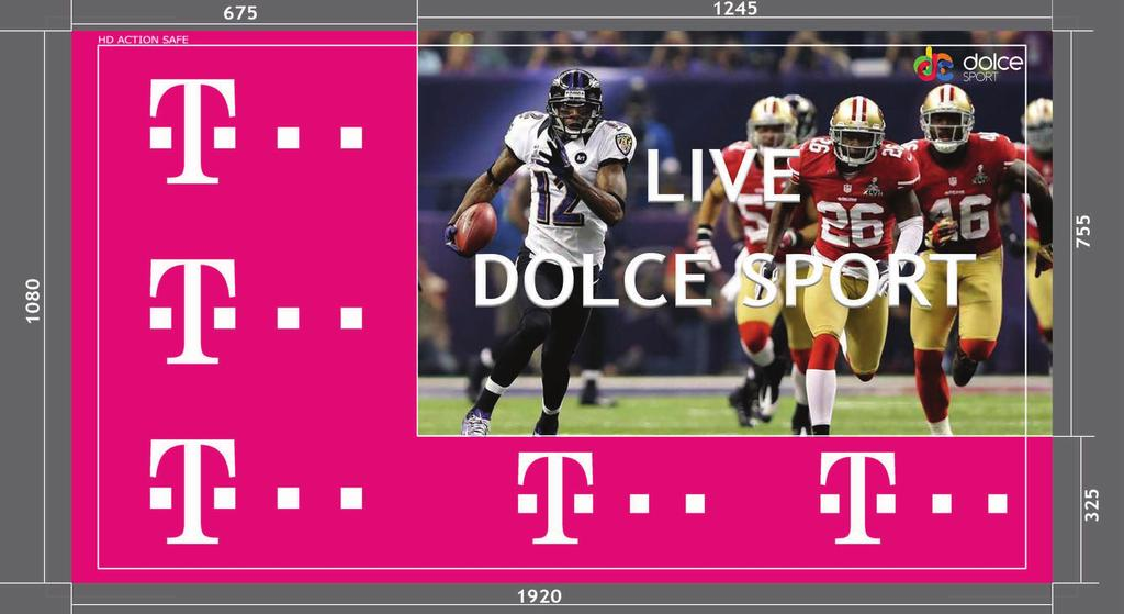 SPLIT SCREEN ADVERTISING Dolce Sport TV channels can have L shape Upper Left or Upper Right Split-Screen advertising!