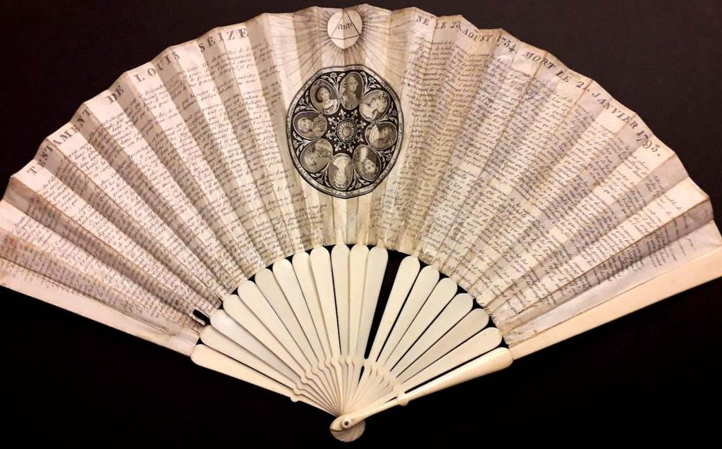 Rare fan issued in the aftermath of the French Revolution. Although a topical subject, one wonders at the use of the slightly morbid medley of living and dead royalty as a fan decoration.