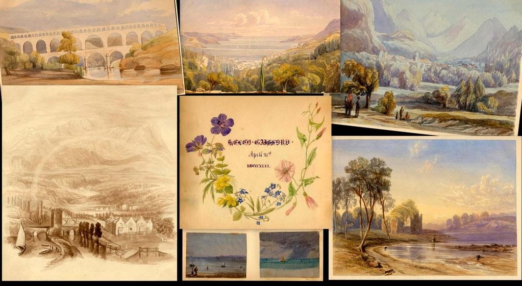 Desirable and highly competent album of original watercolour s by a lady, with a connection through her marriage to Lewis Carroll.