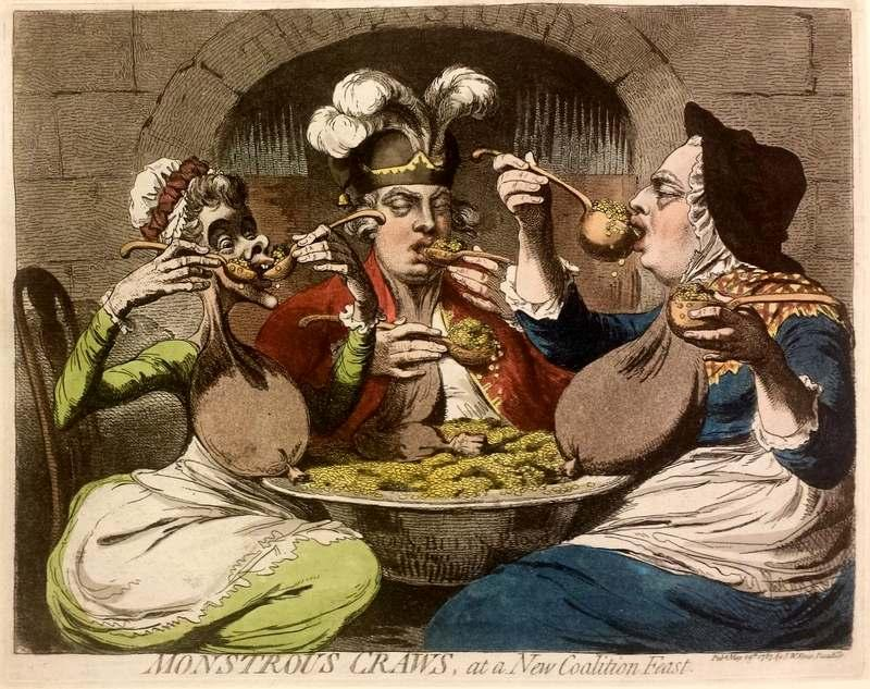 The King, Queen, and Prince of Wales, seated round a bowl of guineas, ladle coins into their mouths with both hands.