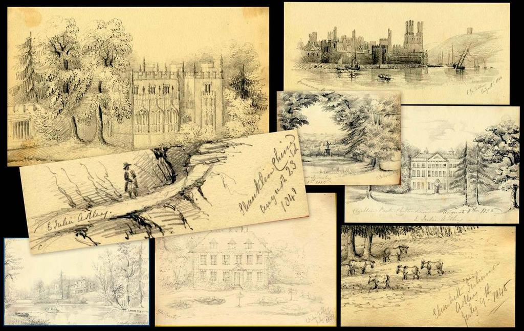 SKETCHES OF THE PICTURESQUE 4. [ASTLEY, Elizabeth Juliana]. ALBUM CONTAINING 72 ORIGINAL PENCIL DRAWINGS. [Manningford Abbots, Wiltshire]. [1830-1848].