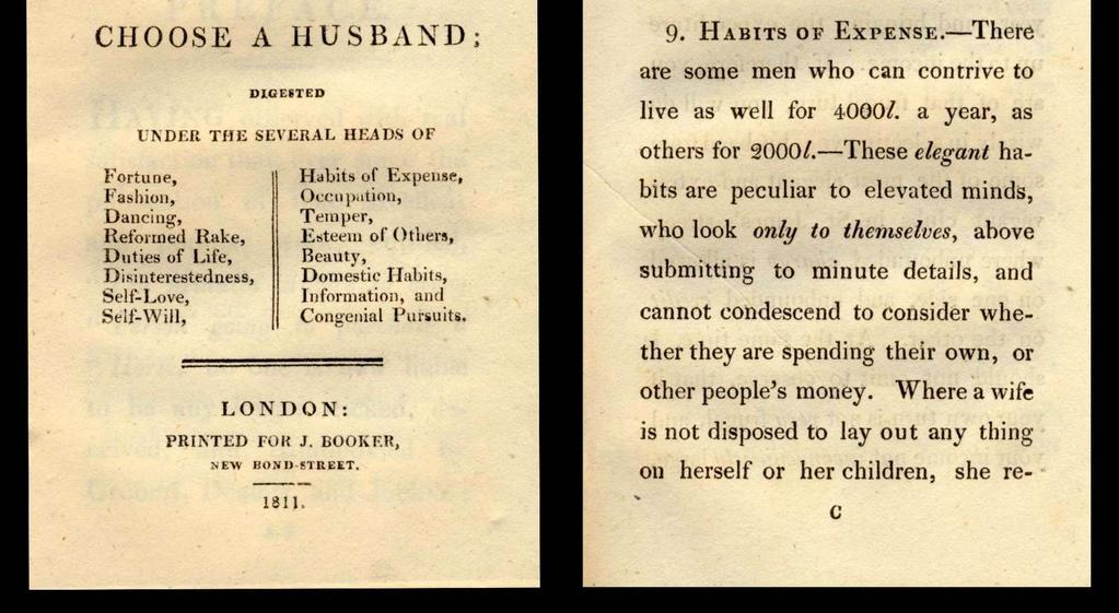 Domestic Habits, Information, and Congenial Pursuits. London: Printed for J. Booker, New Bond-Street. 1811. 1,250 FIRST EDITION. 12mo, pp.