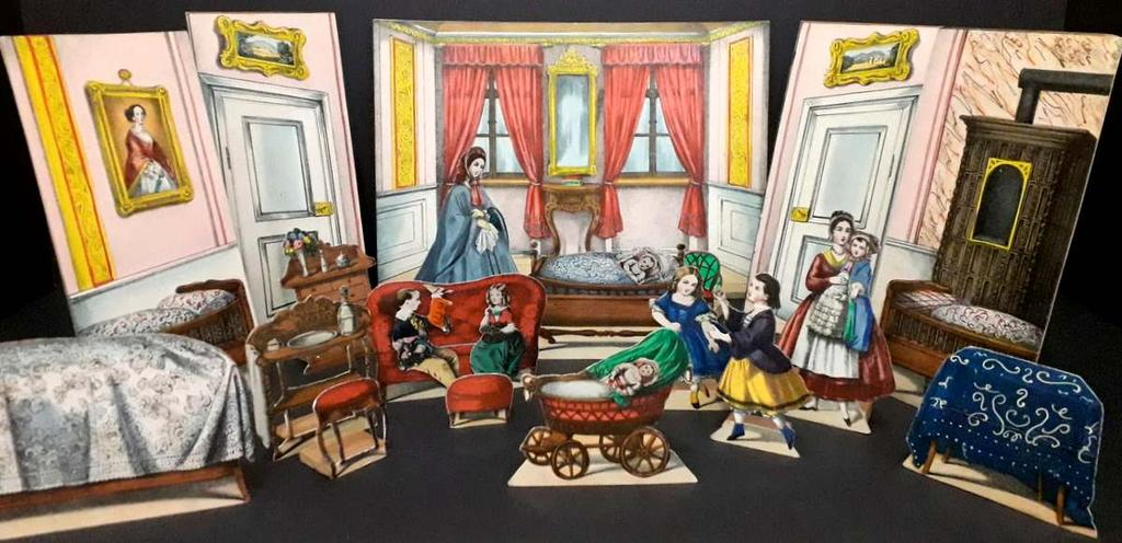 removable swaddled baby; 13) a small red buttoned upholstered sofa with two removable children, the boy dressed in blue and yellow with glove puppet of Mr Punch, and the girl dressed in red and green