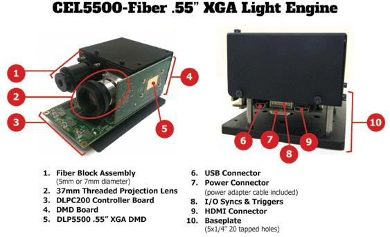 The CEL5500-Fiber Light Engine is designed for users looking to incorporate their own light source. Mounted to the front of the CEL5500-Fiber Light Engine is the Fiber Block Assembly.
