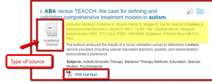 FINDING SOURCES AND USING THE LIBRARY S CITE FEATURE Conduct a search using Autism ABA to